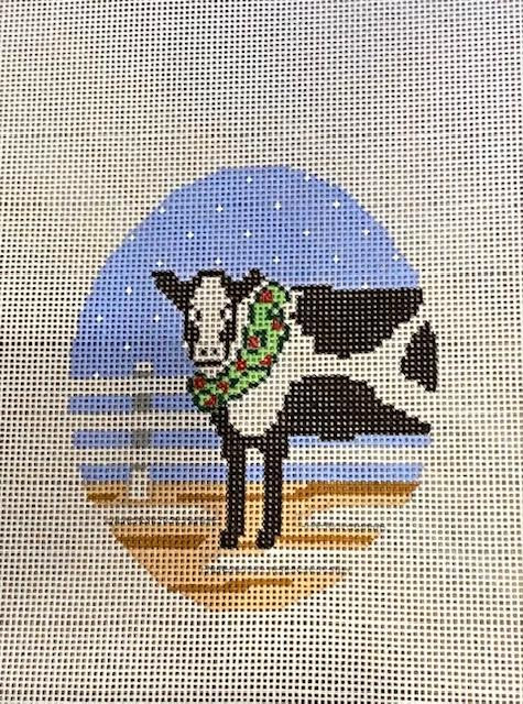 Cow with Wreath Oval Ornament