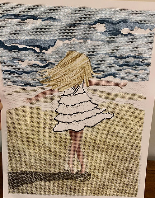 Patti Mann Girl Twirling on the Beach