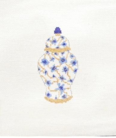 SG Designs Blue Floral Ginger Jar