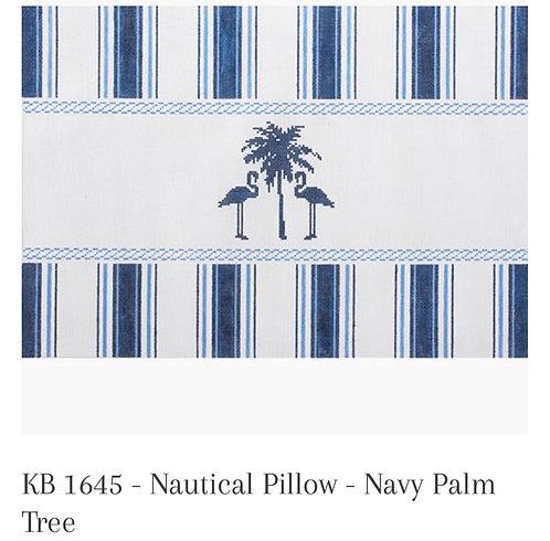 KB 1645 Nautical Pillow Navy Palm Tree