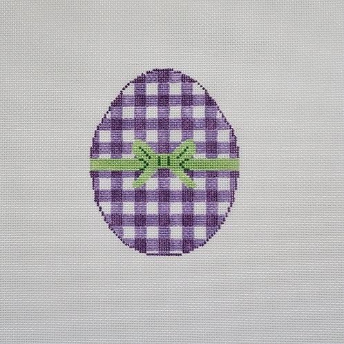 Silver Stitch Needlepoint Purple Gingham Egg