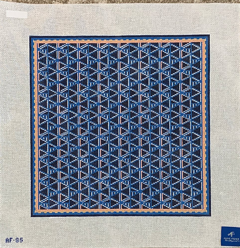 Anne Fisher AF85 Blue Art Deco Pillow