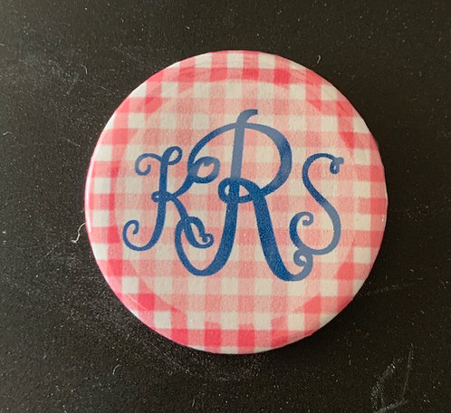 Pink Gingham with Navy Initials