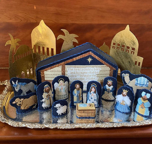 Patricia Sone Nativity in Blue and White with Stitch Guide