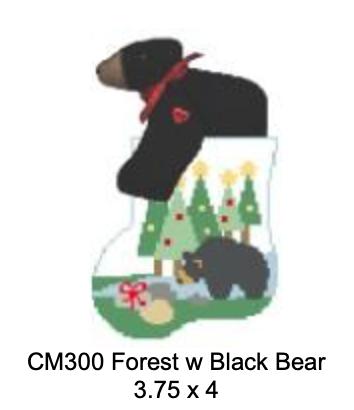 Kathy Schenkel CM300 Forest with Black Bear  Mini Sock
