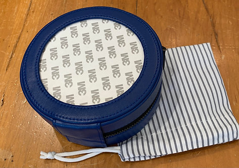 """Blue Leather Jewelry Case for 4"""" Insert"""