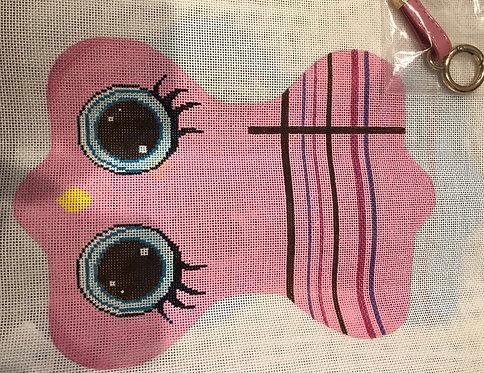 JCreation Needlepoint pink owl eyeglass case