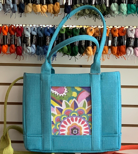 """Bahama Blue Turtle Bag Tote with Zipper - takes 5.5x7"""" Insert"""