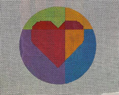 "Eye Candy H-109C Geometric Hearts 4"" Round 18 mesh"