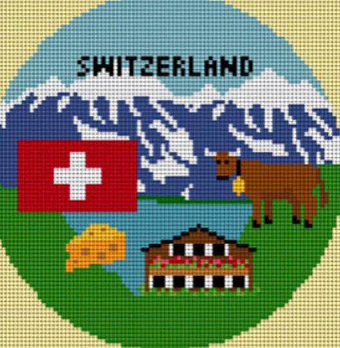 Needlepaint Handpainted Switzerland Ornament