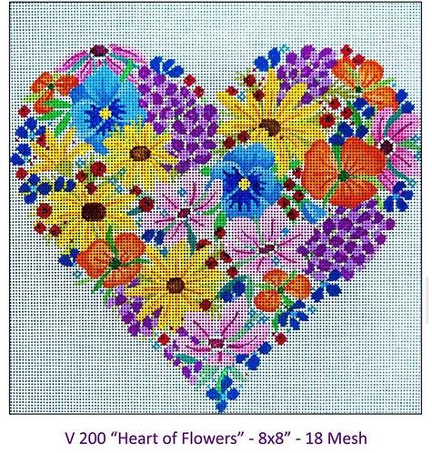 JP Needlepoint V200 Heart of Flowers 18 mesh