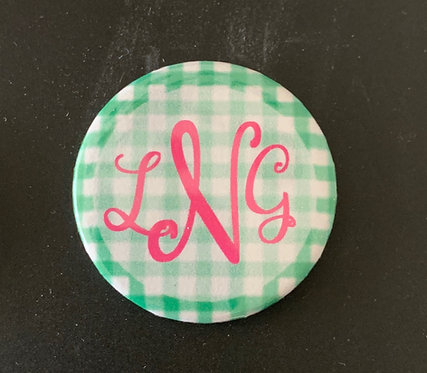 Green Gingham with Pink Letters