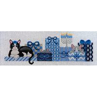JP Needlepoint Hanukkah Kitty x124
