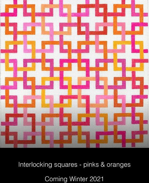 Kate Dickerson PL-464 Interlocking squares Pink/Orange