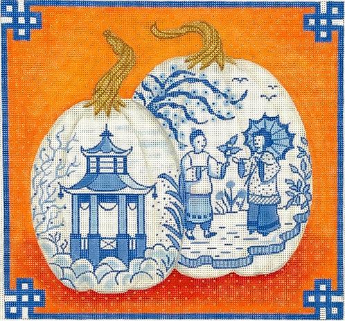Kate Dickerson Two Blue & White Pumpkins