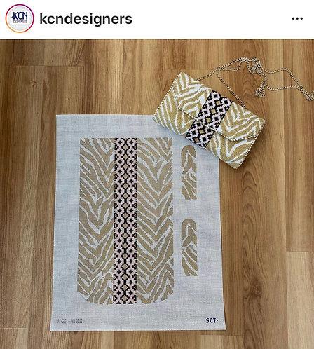 KCN tan zebra print gusseted bag The Heather Purse