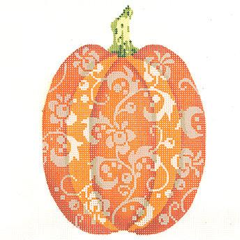 Kelly Clark KCN1565 Tall Orange Floral Pumpkin