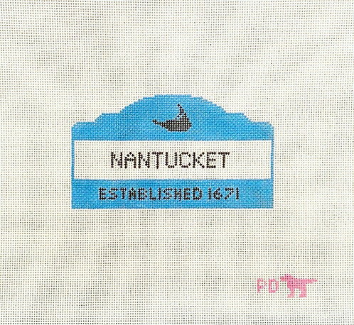 Poppy's Needlepoint Nantucket Est. Sign