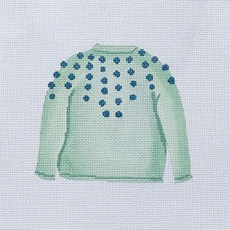 Sara Fritz SF-23 Mint Pom Sweater
