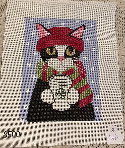 Purple Palm Designs Cat with Coffee 8500