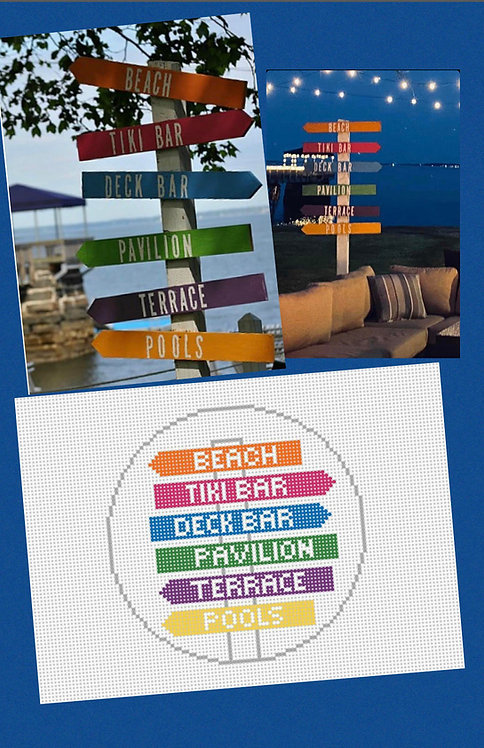 Stitch by Stitch Exclusive!!! Needlepoint by Laura Beach Club Signs!!!