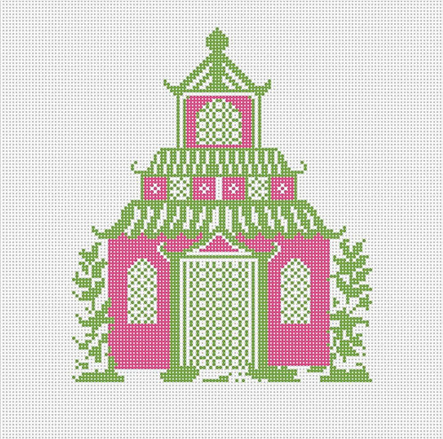 Needlepoint by Laura Pagoda Pink and Green