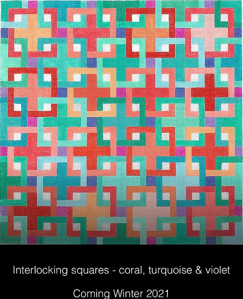 Kate Dickerson PL-467 Interlocking squares Coral, Turquoise and Voilet