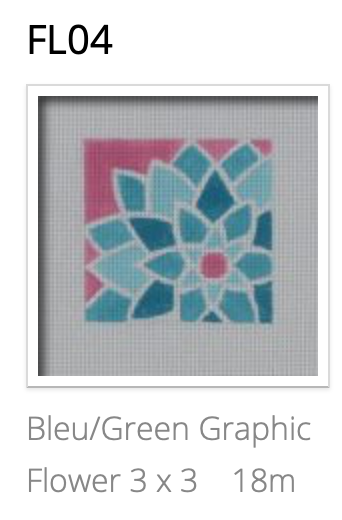Pepperberry FL04 Blue/Green Graphic Flower, Square