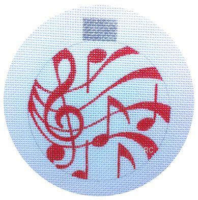 Raymond Crawford HO682 Red Musical Notes Round