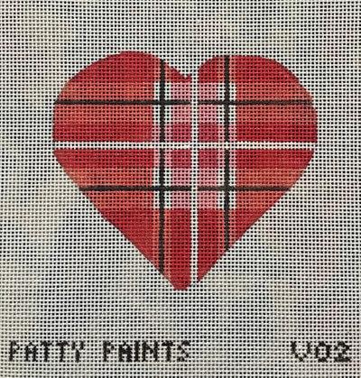 Patty Paints V02 Plaid Heart Pink, Red, Black