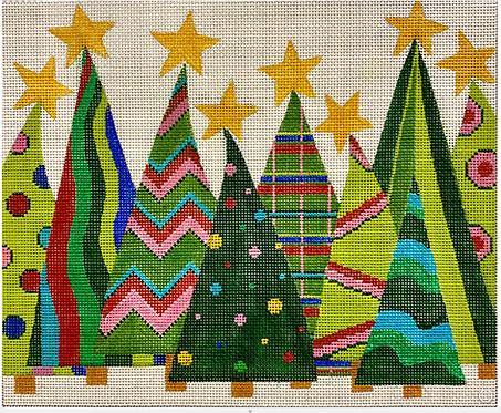 AP 4254 Crazy Christmas Trees II 13 mesh