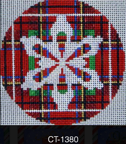 AT CT-1380 Snowflake on Stewart Plaid  Ball Ornament