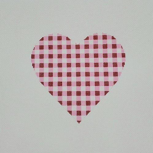 Silver Stitch Needlepoint Gingham Heart Large -Pink