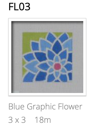 Pepperberry FL03 Blue Graphic Flower, Square