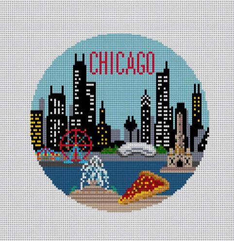 Needlepaint Handpainted Chicago Ornament