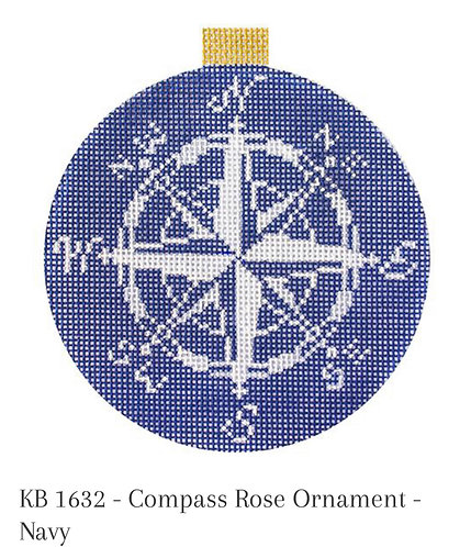 KB 1632 Compass Rose Ornament - Navy