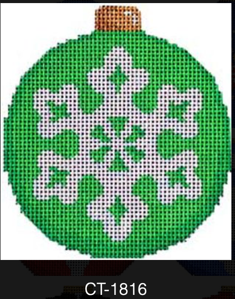 AT CT-1816 Snowflake on Green Ball Ornament