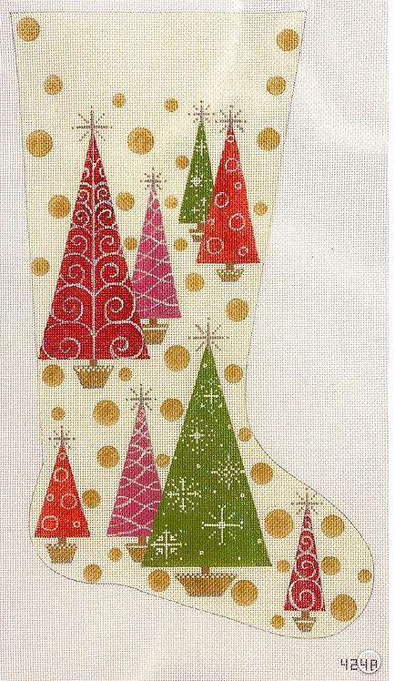 AP 4248 Christmas Trees & Polka Dots Stocking