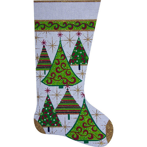 Alice Peterson 2304 Gold Christmas Trees Stocking