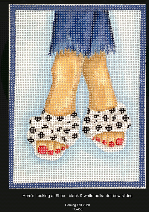 Kate Dickerson PL-458 Polka Dot Open Tow Slides with Bows