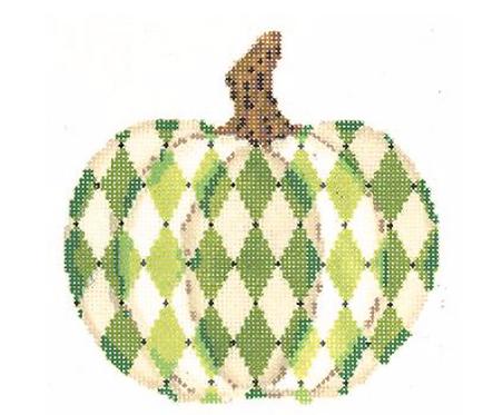 Kelly Clark KCN1554 Ivory and Green Harlequin Pumpkin