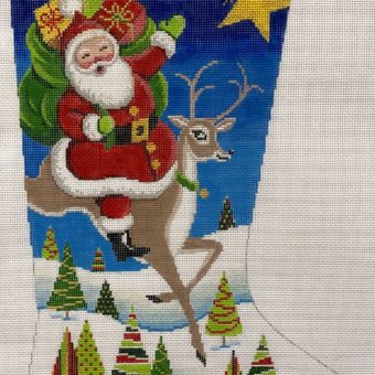AP 4183 Santa on Reindeer Stocking