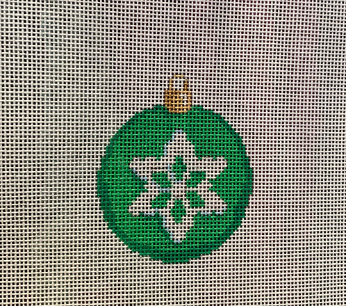 """Associated Talents Green Snowflake Ball 2.25"""" Round"""
