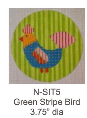 Eye Candy N-SIT5 Teal Bird on Green Stripe