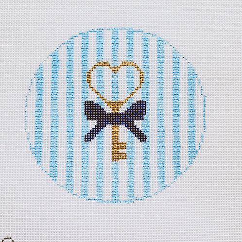 Silver Stitch Needlepoint Key to My Heart - Blue