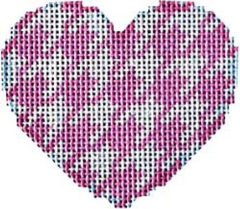 AT HE644P Pink Houndstooth Mini Heart