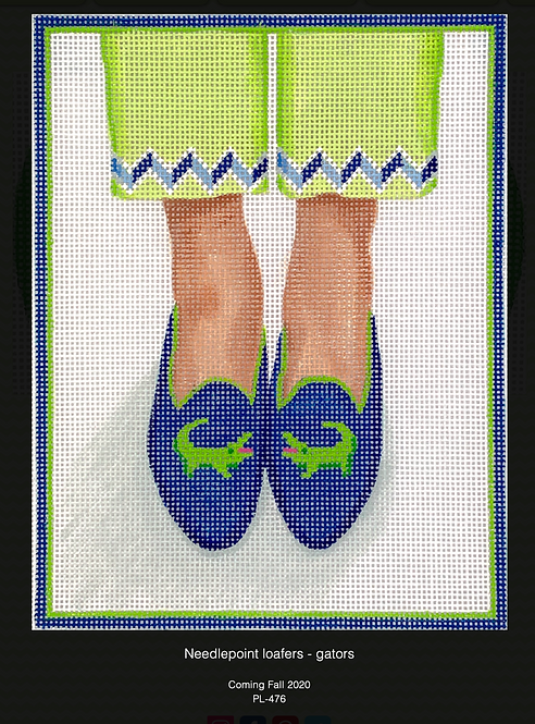 Kate Dickerson PL-476 Needlepoint Gator Loafers