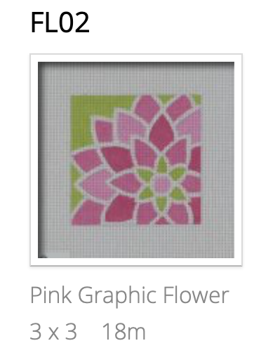 Pepperberry FL02 Pink Graphic Flower, Square
