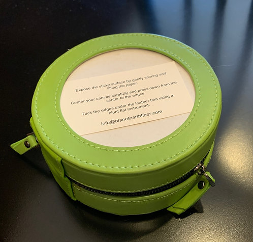 Planet Earth Lime Green Leather Jewelry Case
