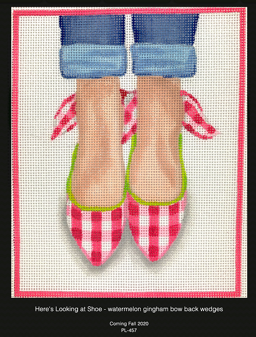 Kate Dickerson PL-457 Gingham Wedges with Bows on the back